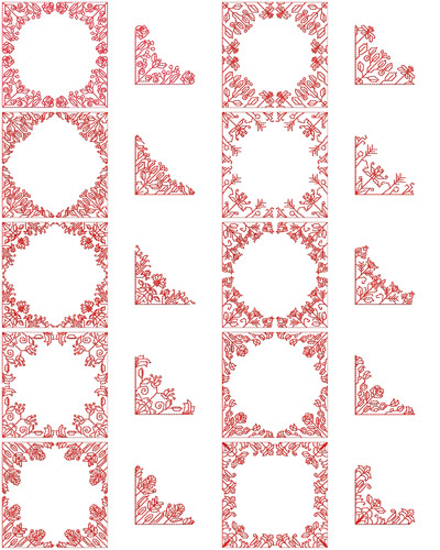 Geometric florals set he hennessy embroidery